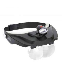 Carson LED Lighted Head Visor Magnifier with Lens Set (1.5x, 2x, 2.5x, 3x)