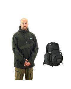 Ridgeline Pintail Explorer II Waterproof & Windproof Smock - Olive + FREE KOMBAT UK RUCKSACK (RRP £29.95)