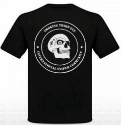 Smoking Third Eye International Sniper Community T-Shirt - White on Black w/ Union Jack