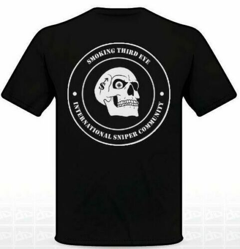 Smoking Third Eye International Sniper Community T-Shirt - White on Black